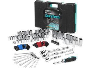 """DURATECH 138-Piece Mechanics Tool Set,SAE/Metric Drive Socket Set(1/2""""-1/4""""-1/8"""")with 90 Tooth Quick-Release Ratchet, Adapters and Extensions for Auto, Moto Repairing"""