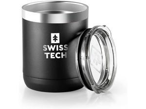 SWISS+TECH 10 oz Tumbler Double Wall Vacuum Insulated Tumbler, Stainless Steel Tumbler with Lid, Corrosion Resistant, BPA Free (Black)