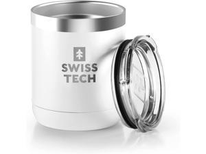 SWISS+TECH 10 oz Tumbler, Insulated Tumbler, Double Wall Vacuum, Stainless Steel Tumbler with Lid, Corrosion Resistant, BPA Free (White)