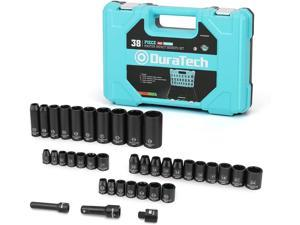 """DURATECH 1/2"""" & 3/8"""" Drive Impact Socket Set, 38-piece Shallow Socket Set, Metric/SAE Sockets with Extension Bars and Impact Adapter"""