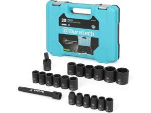 """DURATECH 1/2"""" Drive Impact Socket Set, 20-piece Shallow Socket Set, Metric: 10-32mm with Impact Extension Bar and Universal Joints"""