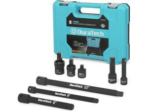 DURATECH Impact Socket Adapter Set, 8-piece including 3/8 in. and 1/2 in. Drive Adapter and Universal Joints, Reducer, Extension Bars
