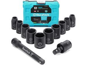 DURATECH 1/2 Inch Drive Impact Socket Set 12 Pieces, 3/8 Inch-1 Inch 10 Pieces SAE Sockets with Impact Swivel Adapter and 6-Inch Impact Extension Bar
