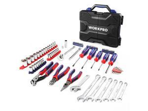 """WORKPRO 87-piece Home Tool Kit/Repair Tools Set, Includes Pliers, Wrenches, Multi-bit Screwdrivers, Hex Keys, Hex Sockets, 3/8"""" Drive Ratchet Wrench, Extension Bar, Spark Plug Socket, SAE & Metric"""