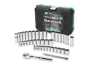 """DURATECH 3/8"""" Drive Socket Set, 40 Piece Tool Set Including Standard (SAE) and Metric Sockets, 90-Tooth Ratchet Handle and Extension Bar"""