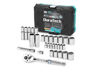 """DURATECH 3/8"""" & 1/4"""" Socket Set, 30 Piece Standard (SAE) and Metric Sockets for Mechanics ,90 Tooth Quick-Release Ratchet, Socket Adapters and Extension Bar Included"""