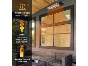 Hanover HAN1051IC-SLV 35.4 in. 1500-Watt Infrared Electric Patio Heater with Remote Control in Silver