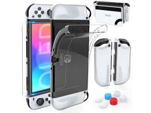 HEYSTOP Dockable Case for Nintendo Switch OLED Model TPU Case Protective Case Cover for Nintendo Switch OLED Model and Joy-Con Controller with Tempered Glass Screen Protector and 6 Thumb Caps