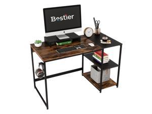 Bestier Rustic Computer Desk 47.2 Inches with Free Monitor Stand & Storage Shelves for Small Space Corner Modern Industrial Home Office Desk, Rustic Brown and Black