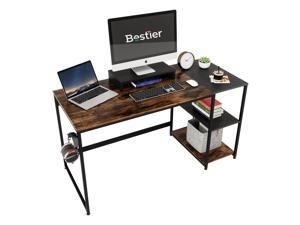 Bestier 55 Inch Home Desks with Monitor Stand & Storage Shelves, Sturdy Rustic Desk, Home Office Laptop Desk, Easy to Assemble, Rustic Brown & Black