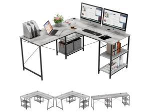 Bestier L Shaped Desk with Shelves 95.2 Inch Reversible Corner Computer Desk or 2 Person Long Table for Home Office Large Gaming Writing Storage Workstation P2 Board with 3 Cable Holes, Grey Oak
