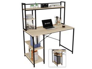 Bestier Computer Desk with Hutch and Shelves 47 Inch, Adjustable Storage Bookshelf Home Office Study Working Table Workstation for Small Space and Bedroom, Modern College Student Desks, Oak