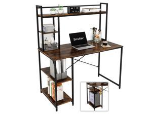 Bestier Computer Desk with Hutch & Bookshelf, Home Office Working Table with Hutch & 2 Tier Adjustable Shelves, Sturdy Wooden Desk for Vanity Study Gaming, Easy Assemble, 47.2 inches, Rustic Brown
