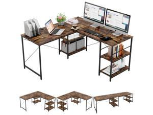 Bestier L Shaped Desk with Shelves 95.2 Inch Reversible Corner Computer Desk or 2 Person Long Table for Home Office Large Gaming Writing Storage Workstation P2 Board with 3 Cable Holes, Rustic Brown