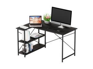 Bestier Small L-Shaped Desk with Storage Shelves 47 Inch Corner Desk with Shelves Writing Desk Table with Storage Tower Shelf Home Office Desk for Small Spaces P2 Wood (Dark Black, 47 Inch)