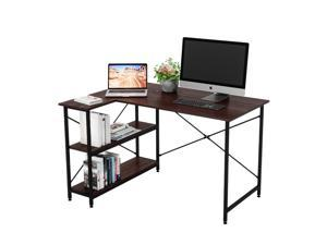 Bestier Small L-Shaped Desk with Storage Shelves 47 Inch Corner Desk with Shelves Writing Desk Table with Storage Tower Shelf Home Office Desk for Small Spaces P2 Wood (Walnut, 47 Inch)