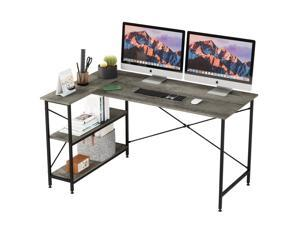 Bestier L Shaped Desk with Storage Shelves 55 Inch, Reversible Computer Desk with Storage Tower Shelf Home Office Corner Desk Writing Study Table Large Workstation Easy Assemble (Grey, 55 Inch)