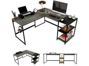 Bestier Industrial L Shaped Desk with Shelves 94.5 Inch Reversible Corner Computer Desk or 2 Person Long Table for Home Office Writing Study Workstation with Monitor Stand and Headphone Hook, Gray