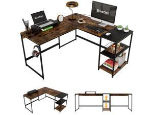 Bestier Industrial L Shaped Desk with Shelves 94.5 Inch Reversible Corner Computer Desk or 2 Person Long Table Office Writing Study Workstation with Monitor Stand and Headphone Hook, Rustic Brown