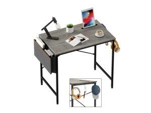 Bestier Computer Desk 32 Inch Office Desk Study Writing Desk, Simple Modern Style Laptop Table with Storage Bag & 3 Little Hook, Retro Gray Top