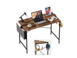 Bestier Computer Desk 39 Inch Office Desk Study Writing Desk, Retro Rustic Style Laptop Table with Storage Bag & 3 Little Hook, Rustic Brown Top