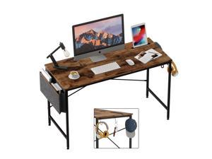 Bestier Computer Desk 47 Inch Office Desk Study Writing Desk, Retro Rustic Style Laptop Table with Storage Bag & 3 Little Hook, Rustic Brown Top