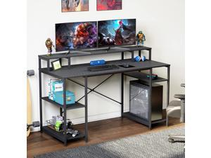 Bestier Gaming Desk with Monitor Shelf, 55 inches Home Office Desk with Open Storage Shelves, Writing Gaming Study Table Workstation for Small Space, Carbon Fiber