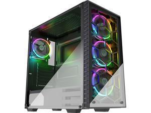 MUSETEX 4 x 120mm LED RGB Fans Pre-Installed Phantom Black ATX Mid Tower Desktop Computer Gaming Case USB 3.0 Ports Tempered Glass Windows