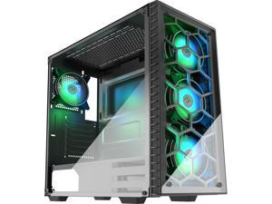 MUSETEX Gaming Case with 6 RGB LED Fans Pre-Installed ATX Mid Tower Case, 2 Translucent Tempered Glass Panels USB 3.0 Port, Cable Management/Airflow, Gaming Style Window Case