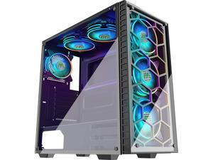 MUSETEX ATX Mid-Tower PC Gaming Case with 6 RGB LED Dual Pre-Installed Fans 2 Translucent Tempered Glass Panel USB 3.0 Port, Cable Management/Airflow, Gaming PC Case