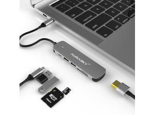 Aurasky 6-in-1 USB C Hub, Type C Adapter Hub Mini Charging Station Workstation Docking Station Multi-portwith 4K HDMI,1 USB 3.0, 1 USB 2.0, TF/SD Card Reader, USB-C PD3.0 for MacBook Pro/Air