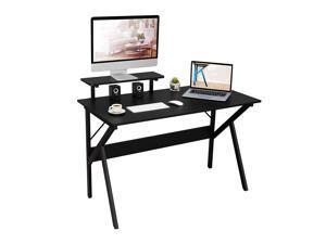 Hilero Computer Desk Workstation 47 Inch Gaming Desk with Moveable Shelf, Black