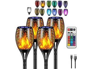 B BOCHAMTEC Solar Lights Outdoor Flame Flickering Torch, with USB Charging Port Remote, 13 Color Changing RGB,Waterproof Lights Landscape Auto On/Off for Garden Patio Driveway Christmas Party (4pack)