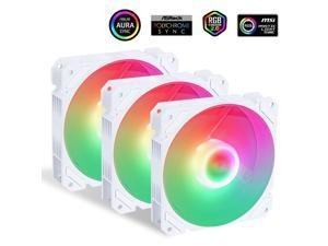 SAMA Fan  SF220  Ice wind 3(White Edition, 3 in 1 with ARGB LED )Dual-ring addressable RGB lighting 120mm PWM muted fan