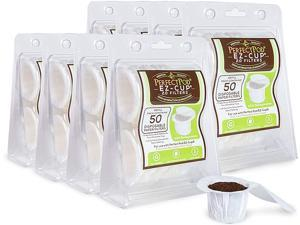 EZ-Cup Disposable Paper Filters with Patented Lid Design for Reusable Coffee Pods 8-Pack (400 Filters)