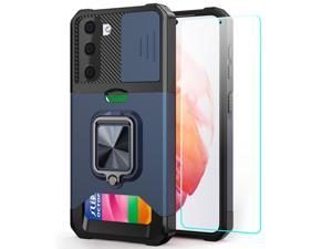 Samsung S21 Case, Galaxy S21 Case 5G 6.2 inch with Card Holder, Heavy Duty Protective Samsung Galaxy s21 Case with Screen Protector Kickstand Built-in Magnetic Phone Case for Samsung S21 5G(Blue)