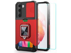 Samsung S21 Case, Galaxy S21 Case 5G 6.2 inch with Card Holder, Heavy Duty Protective Samsung Galaxy s21 Case with Screen Protector Kickstand Built-in Magnetic Phone Case for Samsung S21 5G(Black) Red