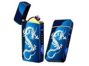 Arc Lighter, Smart Electric Lighter, USB Rechargeable Lighter Windproof Flameless Lighter Lightweight Plasma Lighter for Fire,BBQs,Fireworks ,Candle,Camping - Outdoors Indoors (Blue Dragon)