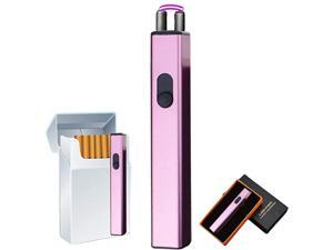 Arc Lighter, Mini Electric Lighter, USB Rechargeable Lighter Windproof Flameless Lighter Plasma Lighter with Battery Indicator for Fire,BBQs,Fireworks ,Candle,Camping - Outdoors Indoors (Ice Purple)