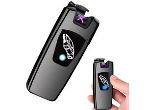 Arc Lighter, Smart Electric Lighter, USB Rechargeable Lighter Windproof Flameless Lighter Lightweight Plasma Lighter for Fire,BBQs,Fireworks ,Candle,Camping - Outdoors Indoors (T4-Black)