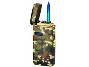 Arc Lighter, Jet Flame Torch Lighter Electric Lighter Refillable Butane 2 in 1, USB Rechargeable Lighter with Windproof Infinity Lighter for Cigar,BBQs,Fireworks ,Candle,Camping Camouflage A