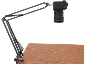 LenTok Overhead Tripod for DSLR Cameras,Heavy Duty Camera Desk Mount Stand with Flexible Articulating Boom Arm, Camera Holder Table Clamp for Canon Nikon Sony Fuji SLR Mirrorless Cam Video Photography