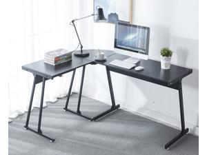 "LUGANG L Shaped Desk 58"" Reversible Office Corner Desk, Gaming Desk with Sturdy L Leg Space Saving Home Office Workstation Table, Black"