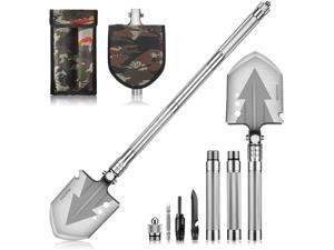 "NACATIN Survival Shovel,28"" Multitool Camping Shovel,Military Folding Shovel with 3 Non-Slip Aluminum Tubes for Outdoor Hiking,Hunting,Expedition,Garden"
