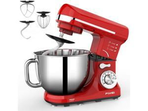 FIMEI Stand Mixer, 5.5 Qt Food Mixer, 6-Speed Tilt-Head Kitchen Mixer (Dough Hook and Beater with Ceramic Glaze, Whisk), Lower Noise, Anti-Slip (Red)