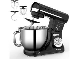 FIMEI Stand Mixer, 5.5 Qt Food Mixer, 6-Speed Tilt-Head Kitchen Mixer (Dough Hook and Beater with Ceramic Glaze, Whisk), Lower Noise, Anti-Slip (Black)