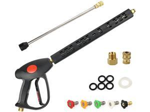 """EFOBO Pressure Washer Gun with Replacement Extension 4000 PSI 41 Inch Power Spray Gun 1/4"""" Quick Connects 5 Nozzle Tips M22 Fitting 5 O-Rings and Washer"""