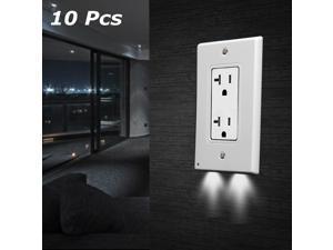 10Pcs Simplex Wall Socket Cover Socket Protection Shell with Light-sensitive LED Night Light