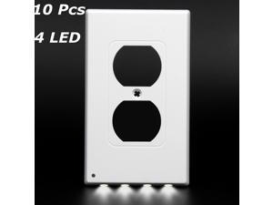 10Pcs Electrical Outlet Wall Plate with Automatic On/Off Sensor LED Night Lights