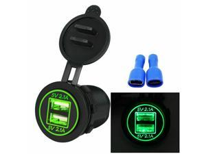 4.2A Dual USB Car Charger Socket, Auto Power Outlet Dual Charging Port Adapter with LED Light
